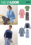6233 New Look Pattern: Unisex Pull on Trousers, Dressing Gown and Knit Tops